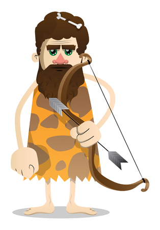 Cartoon old caveman with a bow and arrow. Vector illustration of a man from the stone age.