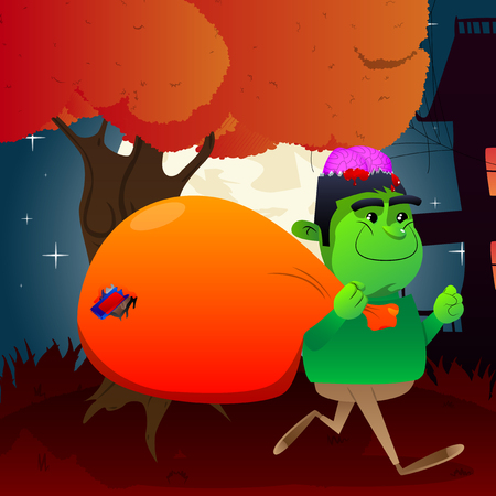 Happy smiling kid as a zombie running with a big sack of candy at Halloween night. Vector cartoon character illustration.