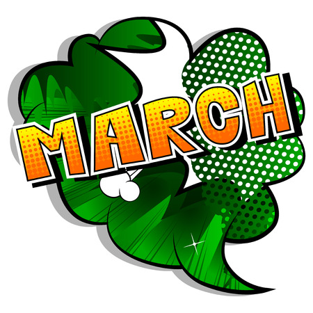 March - Comic book style word on abstract background. Stock Illustratie