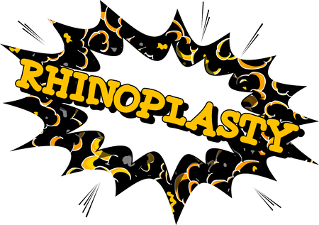 Rhinoplasty (Nose Job) - Comic book style word on abstract background.