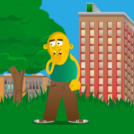 Yellow man holding finger front of his mouth. Vector cartoon illustration. Иллюстрация