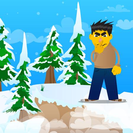 Hombre amarillo sosteniendo el dedo delante de la boca. Ilustración de dibujos animados de vector.