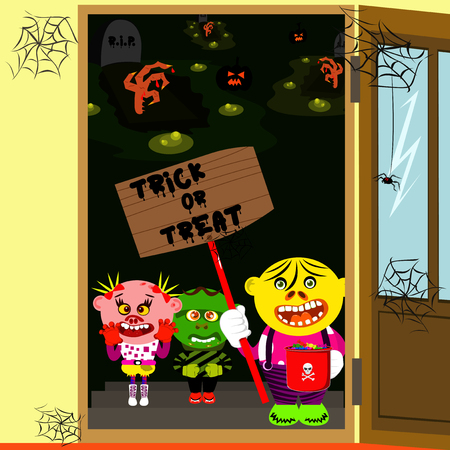 Happy smiling kids standing in door, dressed as monsters and waiting for candy at Halloween night. Vector cartoon character illustration.