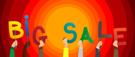 Diverse hands holding letters of the alphabet created the word Big Sale. Vector illustration.
