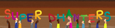 Diverse hands holding letters of the alphabet created the word Super Dhanteras (first day that marks the festival of Diwali in India). Vector illustration.
