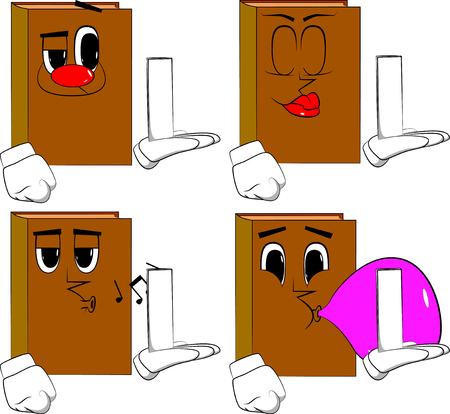 Books holding white tall box. Cartoon book collection with various faces. Expressions vector set.