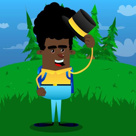 Schoolboy tipping his hat. Vector cartoon character illustration.
