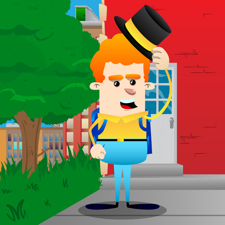 Schoolboy tipping his hat. Vector cartoon character illustration.