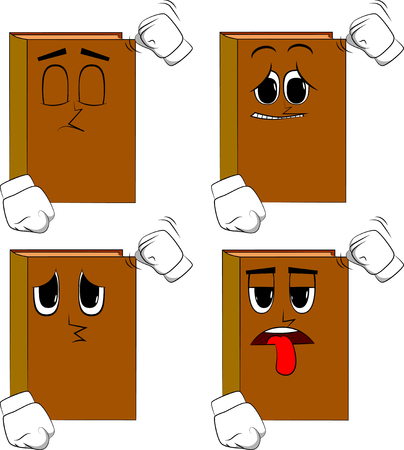 Books threatening someone, shakes his fist at viewer. Cartoon book collection with sad faces. Expressions vector set.