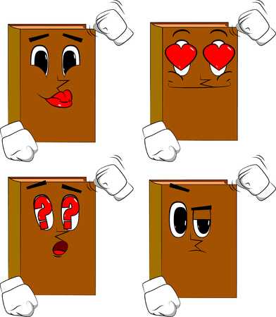 Books threatening someone, shakes his fist at viewer. Cartoon book collection with various faces. Expressions vector set. Illusztráció