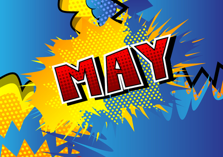 May - Comic book style word on abstract background. Иллюстрация