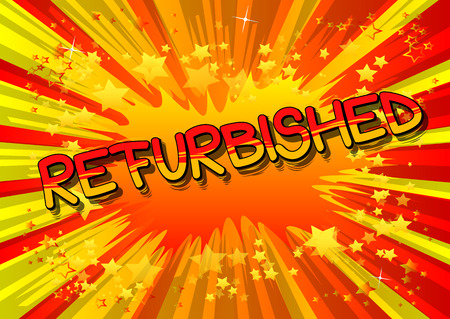 Refurbished - Comic book style word on abstract background. Reklamní fotografie - 106241358