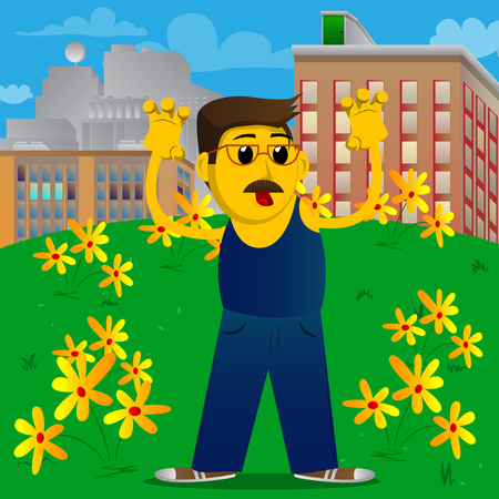 Yellow man is trying to scare you. Vector cartoon illustration.