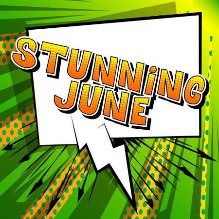 Stunning June - Comic book style word on abstract background. Çizim