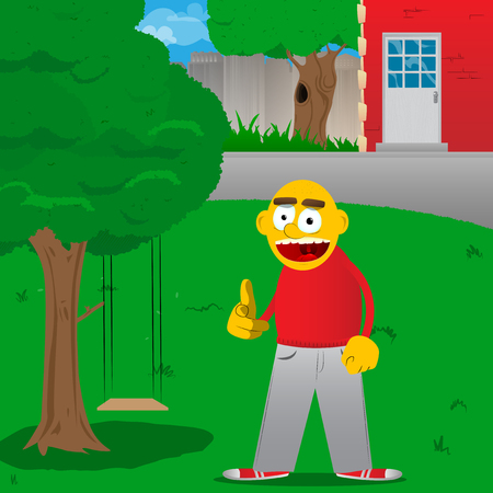 Yellow man pointing at the viewer with his hand. Vector cartoon illustration.