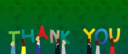 Verschiedene Hände, die Buchstaben des Alphabets halten, schufen das Wort Danke. Vektorillustration. Vektorgrafik