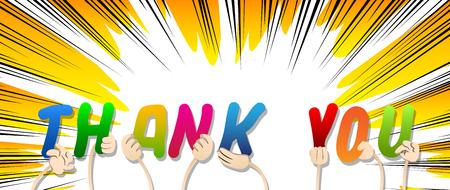 Diversas manos sosteniendo letras del alfabeto crearon la palabra Gracias. Ilustración de vector.
