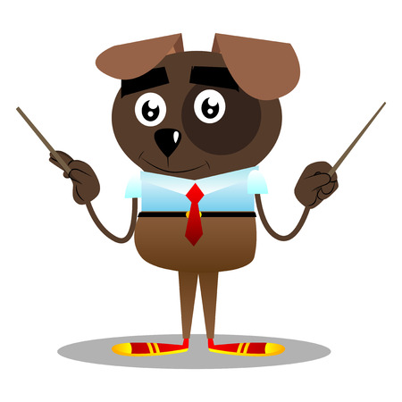 Cartoon vector illustrated business dog orchestra conductor. 스톡 콘텐츠 - 106488538