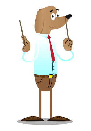 Cartoon vector illustrated business dog orchestra conductor.