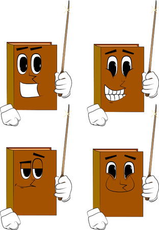 Books with a magic wand. Cartoon book collection with happy faces. Expressions vector set.