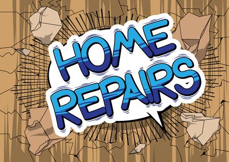 Home Repairs - Vector illustrated comic book style phrase. 向量圖像