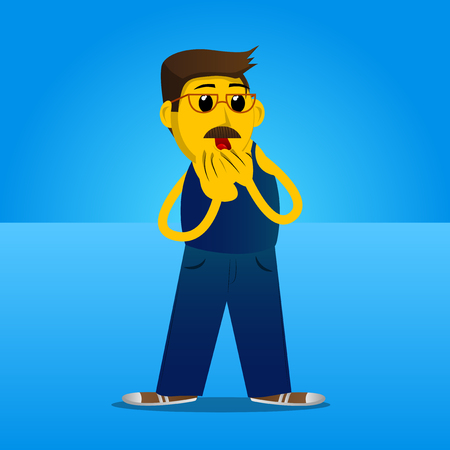 Yellow man with hands over mouth. Vector cartoon illustration. Иллюстрация