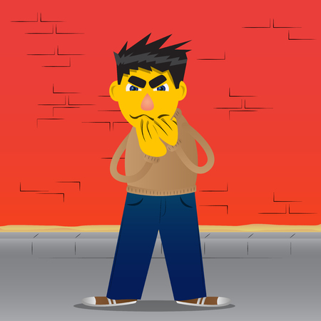 Yellow man with hands over mouth. Vector cartoon illustration. Çizim