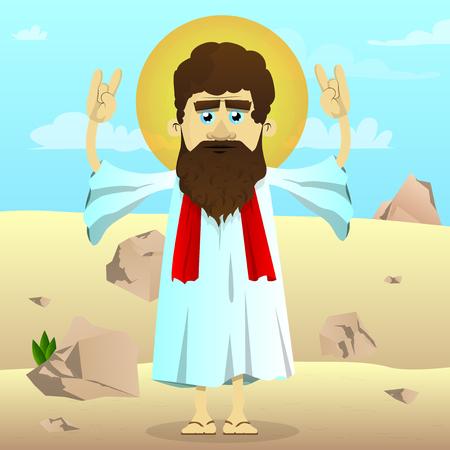Vector illustrated cartoon Jesus with hands in rocker pose standing in the desert. Ilustrace