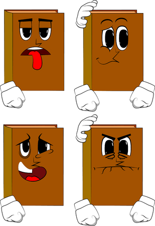 Books comforting another. Cartoon book collection with sad, bored and angry faces. Expressions vector set. Illustration