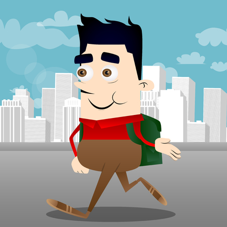 Schoolboy giving a hand. Vector cartoon character illustration.