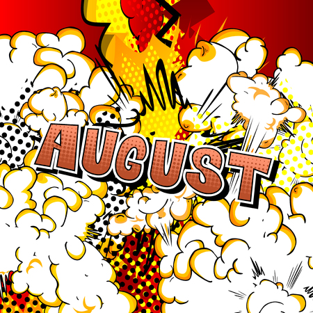 August - Comic book style word on abstract background. Ilustração