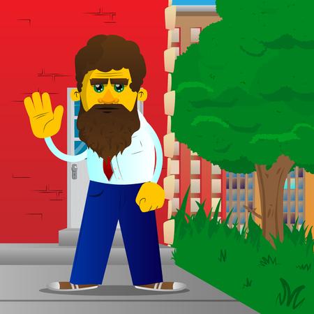 Yellow man with waving hand. Vector cartoon illustration.