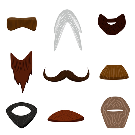 Vector illustrated cartoon facial hair set isolated on white background. Ilustrace