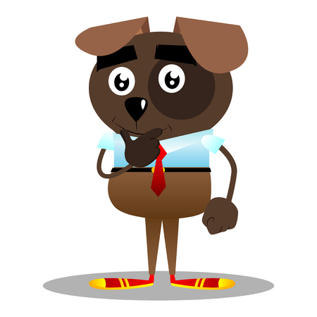 Cartoon vector illustrated business dog thinking with hand under his mouth.