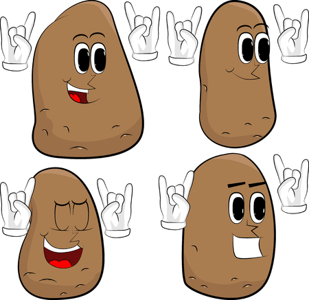 Potatoes with hands in rocker pose. Cartoon potato collection with happy faces. Expressions vector set.