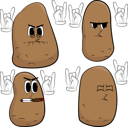Potatoes with hands in rocker pose. Cartoon potato collection with angry faces. Expressions vector set.