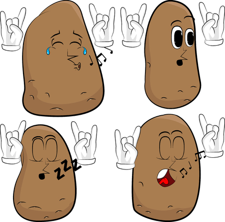 Potatoes with hands in rocker pose. Cartoon potato collection with various faces. Expressions vector set.