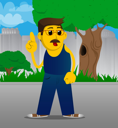Yellow man making a point. Vector cartoon illustration.