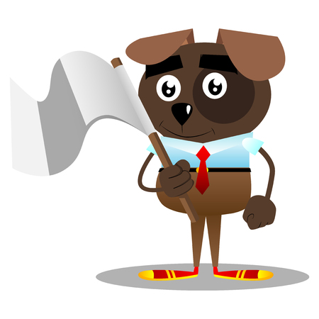 Cartoon vector illustrated business dog holds white flag of surrender. Stock Illustratie