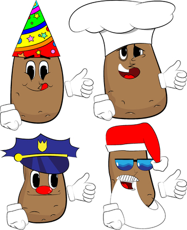 Potatoes making thumbs up sign. Cartoon potato collection with costume faces. Expressions vector set.