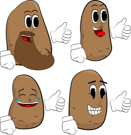 Potatoes making thumbs up sign. Cartoon potato collection with happy faces. Expressions vector set.