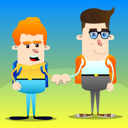 Schoolboys giving a fist bump. Vector cartoon character illustration.