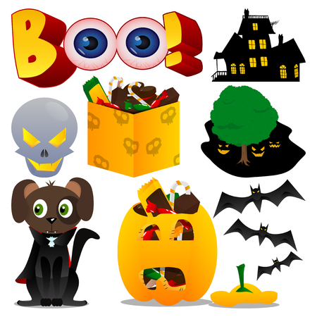 Vector set for Halloween in vibrant colorful cartoon style. Illustration of characters and icons on white background. Dog in costume, pumpkin and other traditional elements of Halloween.