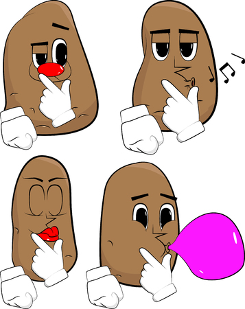 Potatoes holding finger front of his mouth. Cartoon potato collection with various faces. Expressions vector set.
