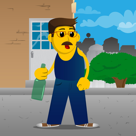 Yellow man holding a bottle. Vector cartoon illustration.