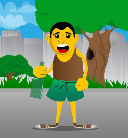 Yellow man holding a bottle. Vector cartoon illustration. Vector Illustration