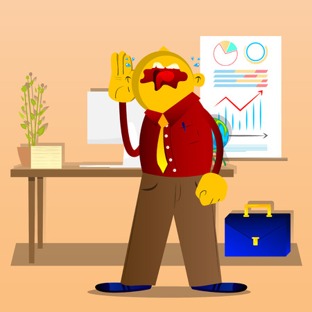 L'homme jaune tient la main à son oreille, écoutant. Illustration de dessin animé de vecteur.