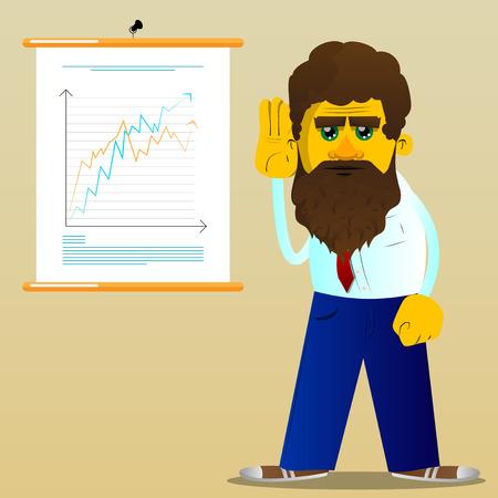 Gelber Mann hält die Hand an sein Ohr und hört zu. Vektorkarikaturillustration. Vektorgrafik