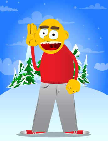 Yellow man holds hand at his ear, listening. Vector cartoon illustration.