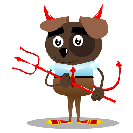 Cartoon vector illustrated business dog devil with pitchfork.